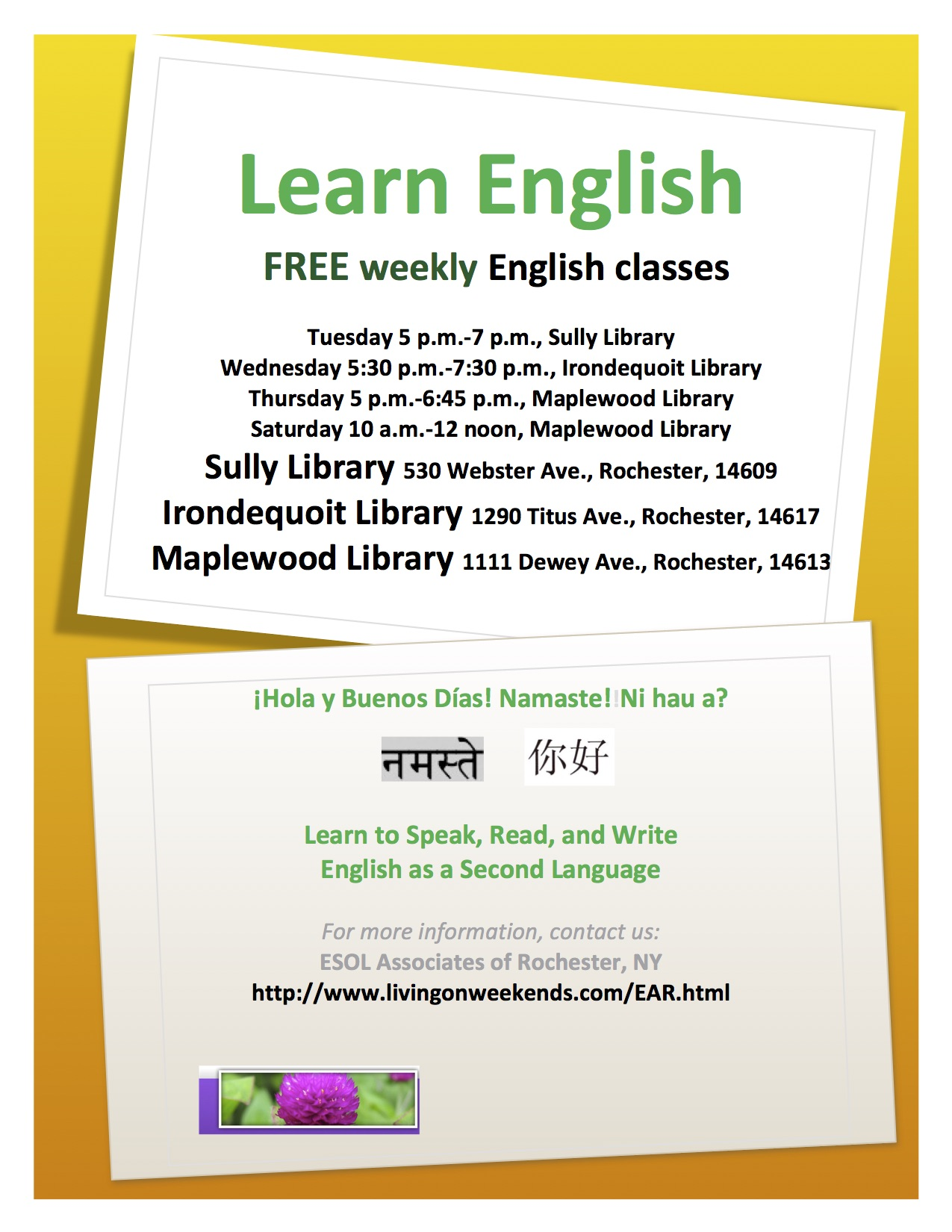 About Us: English as a Second Language, ESOL Associates of